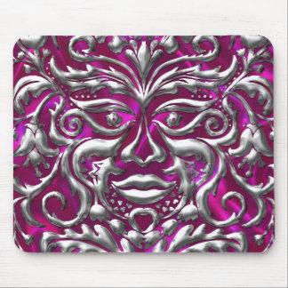 GreenMan liquid gold damask on pink satin print Mouse Pad