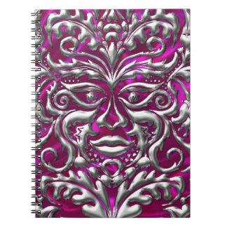 GreenMan liquid gold damask on pink satin print Notebook