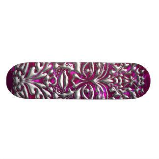 GreenMan liquid gold damask on pink satin print Skateboard