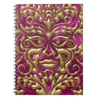 GreenMan liquid gold damask on pink satin print Spiral Notebook