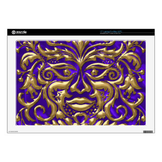 "GreenMan liquid gold damask on purple satin print 17"" Laptop Decal"
