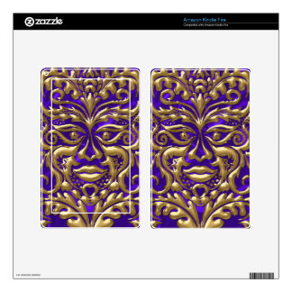 GreenMan liquid gold damask on purple satin print Decals For Kindle Fire