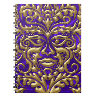 GreenMan liquid gold damask on purple satin print Notebook