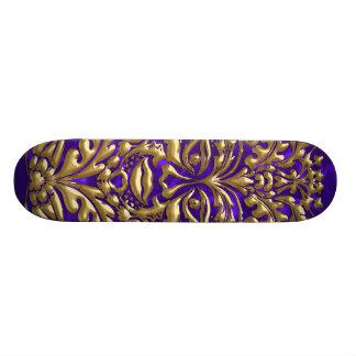 GreenMan liquid gold damask on purple satin print Skateboard Deck
