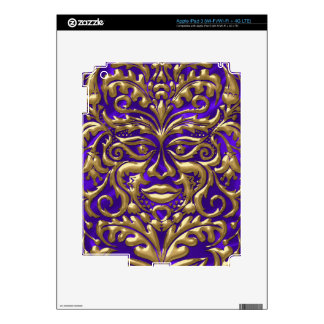 GreenMan liquid gold damask on purple satin print Skins For iPad 3