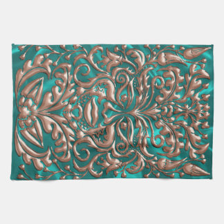 GreenMan liquid gold damask Turquoise satin print Hand Towels