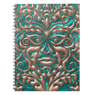 GreenMan liquid gold damask Turquoise satin print Notebook