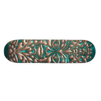 GreenMan liquid gold damask Turquoise satin print Skateboard