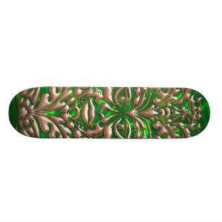 GreenMan liquid RoseGold damask green satin print Skateboard