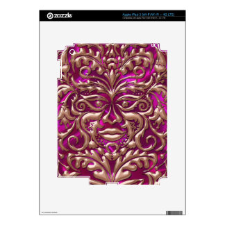 GreenMan liquid RoseGold damask pink satin print Decal For iPad 3