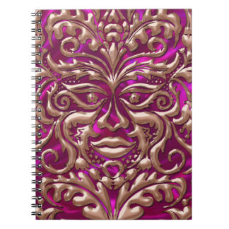 GreenMan liquid RoseGold damask pink satin print Spiral Notebook