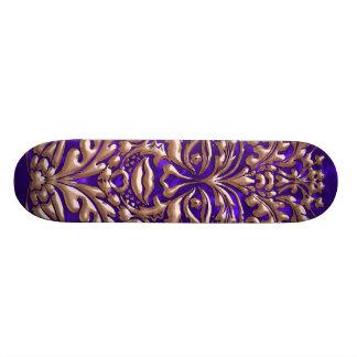 GreenMan liquid RoseGold damask purple satin print Skateboard