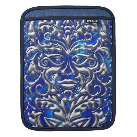 GreenMan liquid silver damask on blue satin print Sleeve For iPads