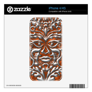 GreenMan liquid silver damask orange satin print iPhone 4 Skin