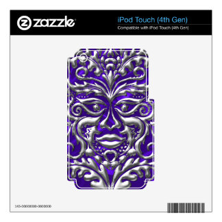 GreenMan liquid silver damask purple satin print Decal For iPod Touch 4G