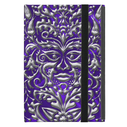 GreenMan liquid silver damask purple satin print iPad Mini Case