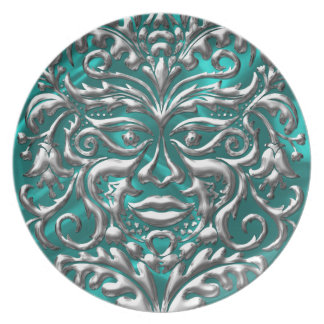 GreenMan liquid silver damask teal satin print Dinner Plate