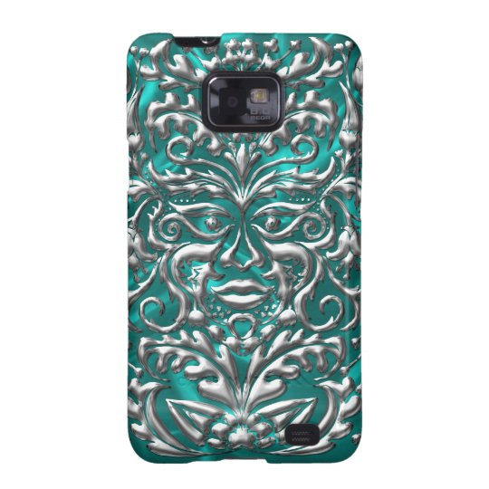 GreenMan liquid silver damask teal satin print Galaxy SII Cover