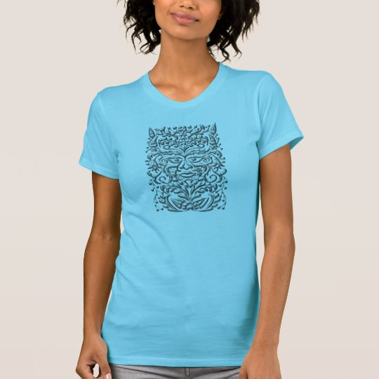 GreenMan liquid silver damask teal satin print T-Shirt