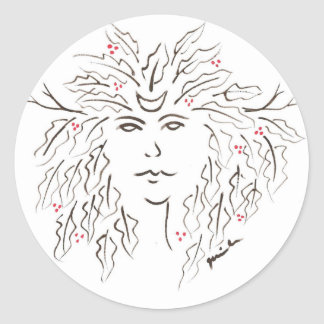 Greenman with holly berries round stickers