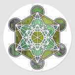 GreenMetatronCube Classic Round Sticker