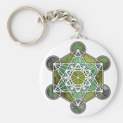 GreenMetatronCube Key Chains