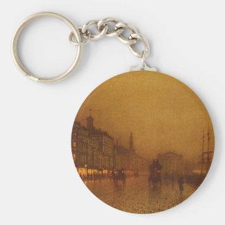 Greenock Dock by John Atkinson Grimshaw Basic Round Button Keychain
