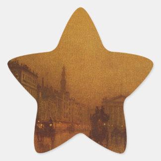 Greenock Dock by John Atkinson Grimshaw Star Sticker