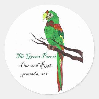 GreenParrot1 Pegatinas Redondas