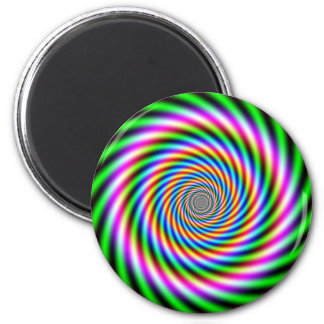 Greenpink Optical Illusion 2 Inch Round Magnet