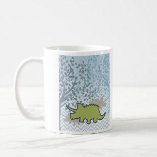 GreenRhinosaur on Zigzag Chevron - Blue and White Coffee Mug