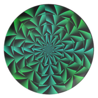 Greens and Blues Round Optical Illusion Plate