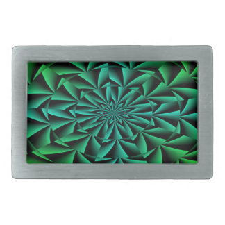 Greens and Blues Round Optical Illusion Rectangular Belt Buckle