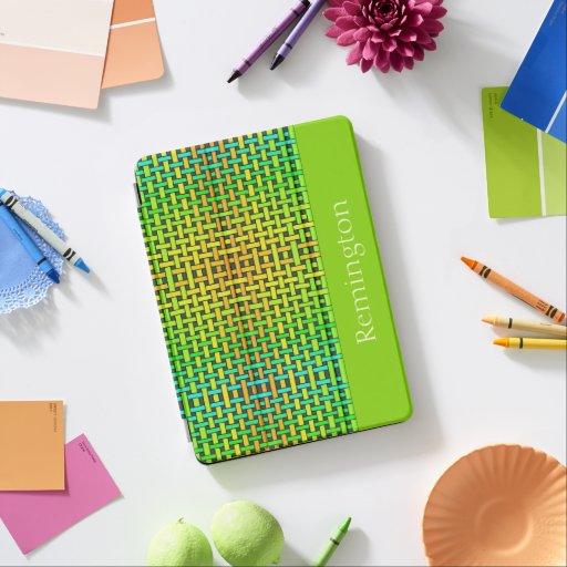 Greens Interlaced Design iPad Air Cover
