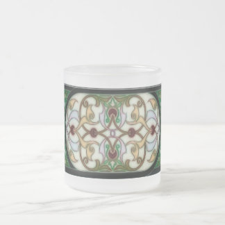 Greens Stained Glass Art Deco Frosted Glass Coffee Mug