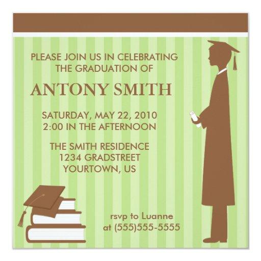 Greens Stripes Graduation Card