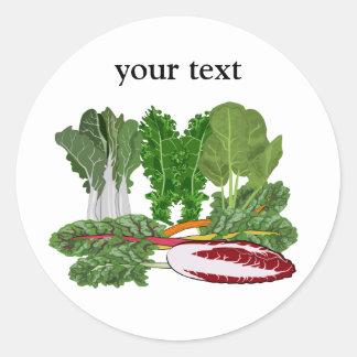 Greens Veggie Lovers Vegetables Round Sticker