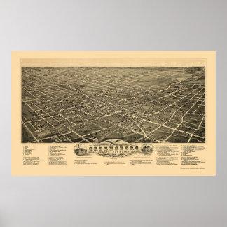 Greensboro, mapa panorámico del NC - 1891 Posters