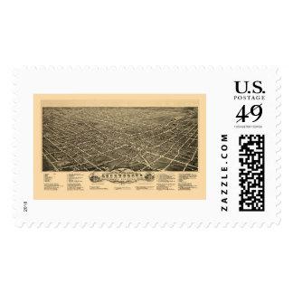 Greensboro, NC Panoramic Map - 1891 Stamps