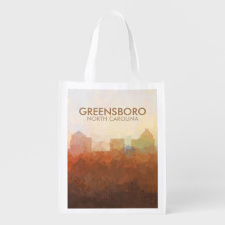 Greensboro, NC Skyline IN CLOUDS Reusable Grocery Bag