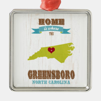 Greensboro, North Carolina Map – Home Is Where The Square Metal Christmas Ornament