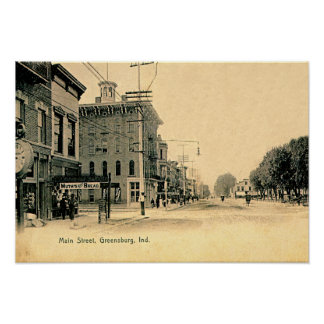 Greensburg, Indiana Main Street 1905 Poster