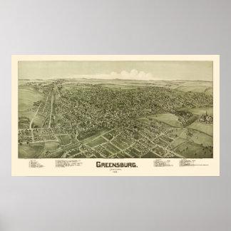 Greensburg, PA Panoramic Map - 1901 Poster