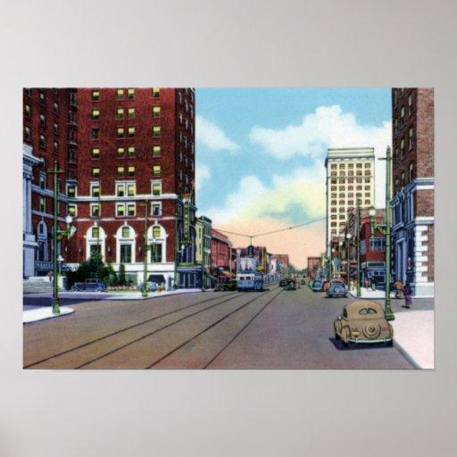 Greenville Carolina del Sur a lo largo de la calle Poster