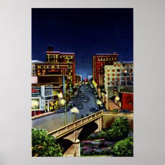 Greenville Carolina del Sur en la noche Poster