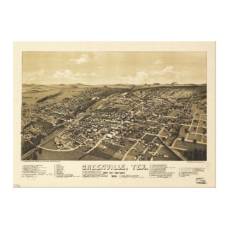 Greenville Hunt County Texas Map (1886) Canvas Print