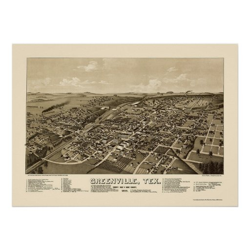 Greenville, mapa panorámico de TX - 1886 Posters