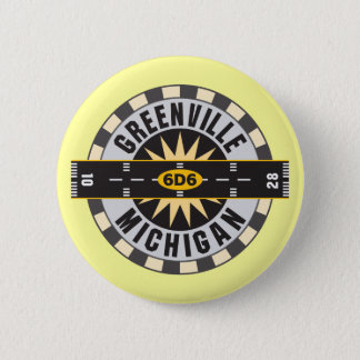 Greenville, MI 6D6 Airport Pinback Button