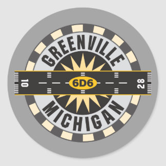 Greenville, MI 6D6 Airport Classic Round Sticker