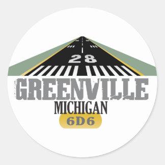 Greenville MI - Airport Runway Classic Round Sticker